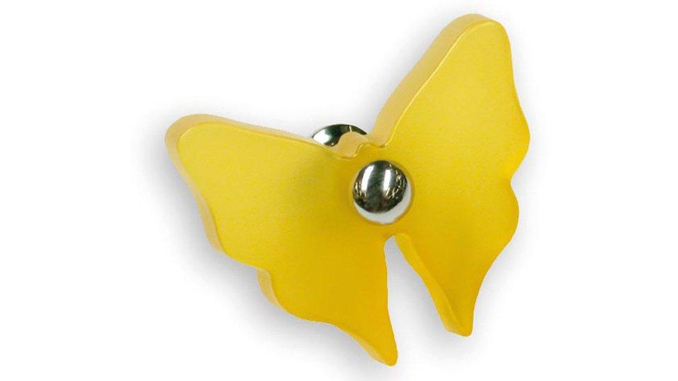 Möbelknopf Heinsberg, Tier,  Kinder,  Schmetterling Kunststoff Glaseffekt matt - Gelb, Zinkdruckguß - Chrom glänzend | 52x40x27