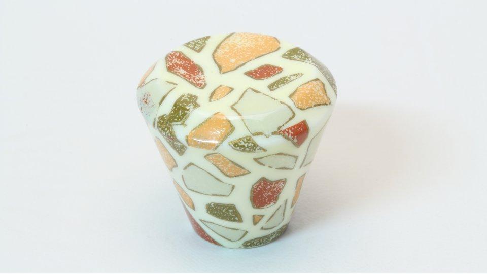 Möbelknopf Hilpolstein, Muster Kunststoff bedruckt - Weiß | 28x28x25
