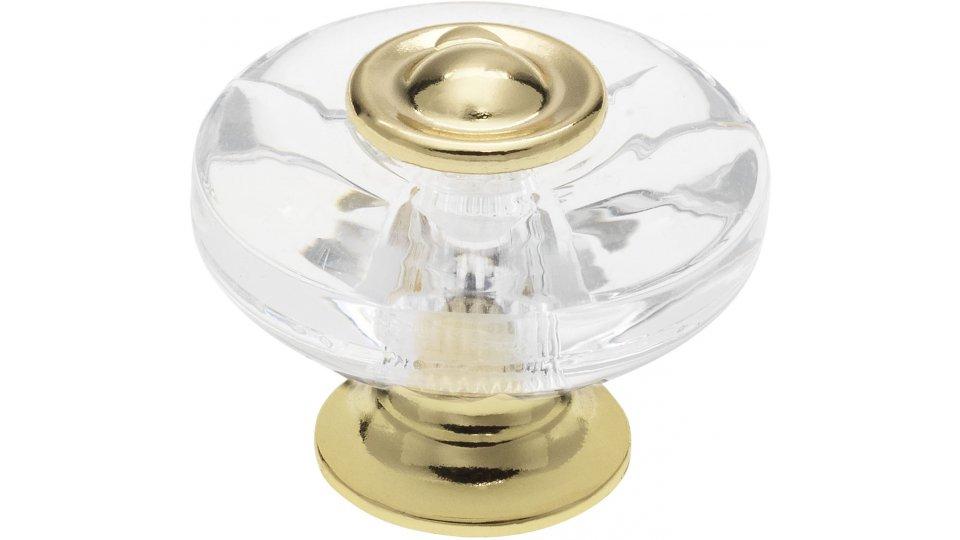 Möbelknopf Höchstadt, Klassisch,  Vintage,  Design Kunststoff Glaseffekt - Kristall glänzend, Zinkdruckguß - Vergoldet | 38x21x31