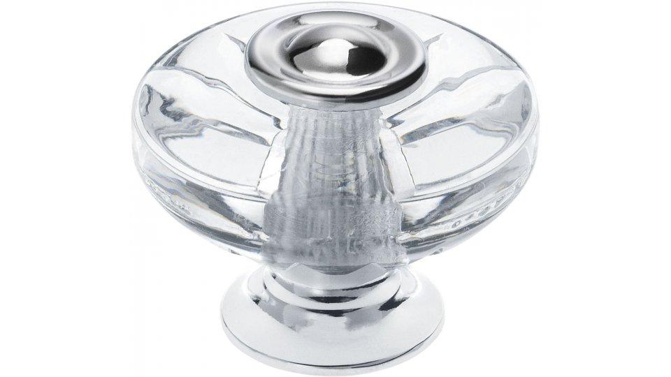 Möbelknopf Höchstadt, Klassisch,  Vintage,  Design Kunststoff Glaseffekt - Kristall glänzend, Zinkdruckguß - Chrom glänzend | 38x38x31