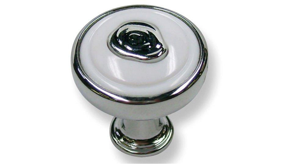 Möbelknopf Holzwickede, Klassisch,  Vintage,  Design Druckguss - Kunststoff chrom glänzend weiß | 0023x24x23