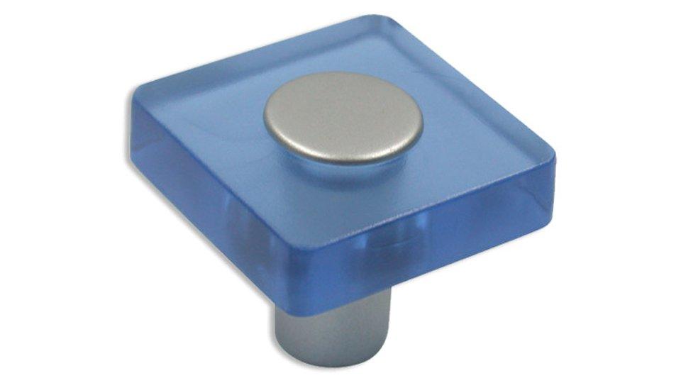 Möbelknopf Köngen, Kinder Kunststoff Glaseffekt - Hellblau, Kunststoff metallisiert - Weißaluminium | 30x30x26