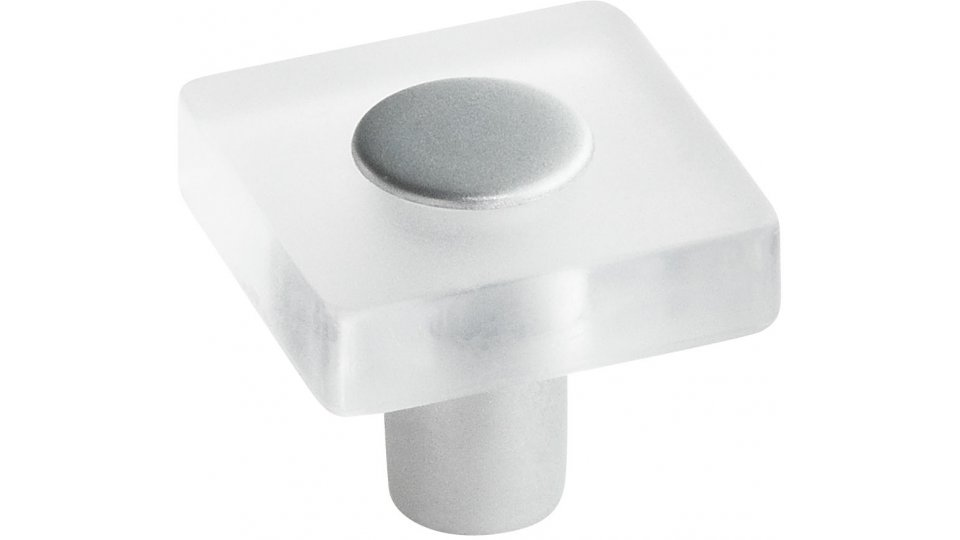 Möbelknopf Köngen, Kinder Kunststoff Glaseffekt - Transparent klar, Kunststoff metallisiert - Weißaluminium | 30x30x26
