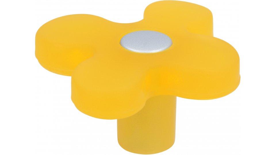 Möbelknopf Ostercappeln, Pflanze,  Blume,  Blatt,  Kinder Kunststoff glaseffekt gelb metallisiert weißaluminium | 0050x26x47
