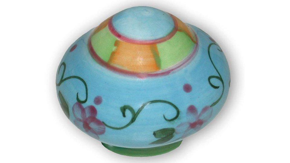 Möbelknopf Petershagen, Muster,  Design Porzellan - Bunt, Porzellandruck farbig - Bunt mit Blumen und Filigran | 38x38x32