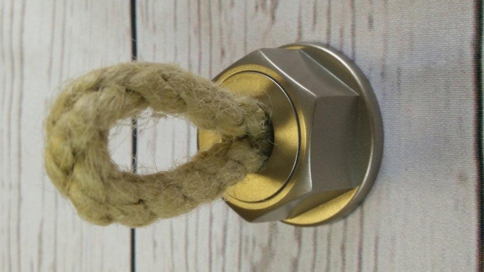 Möbelknopf Rope, Landhaus,  Vintage,  Seil Kunststoff metallisiert - Warmgrau, Schnur - Beige | 37x64x37