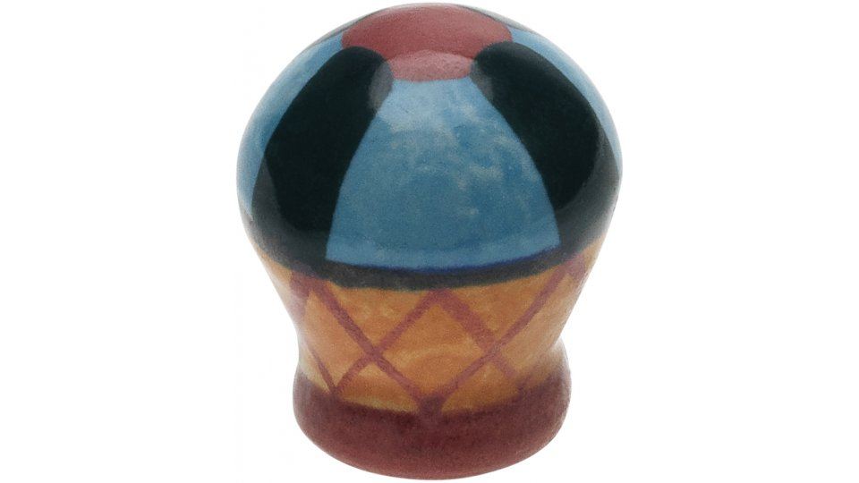 Möbelknopf Sassnitz, Muster,  Kugel Porzellan - Bunt, Porzellandruck farbig - Bunt mit Streifen | 27x27x32
