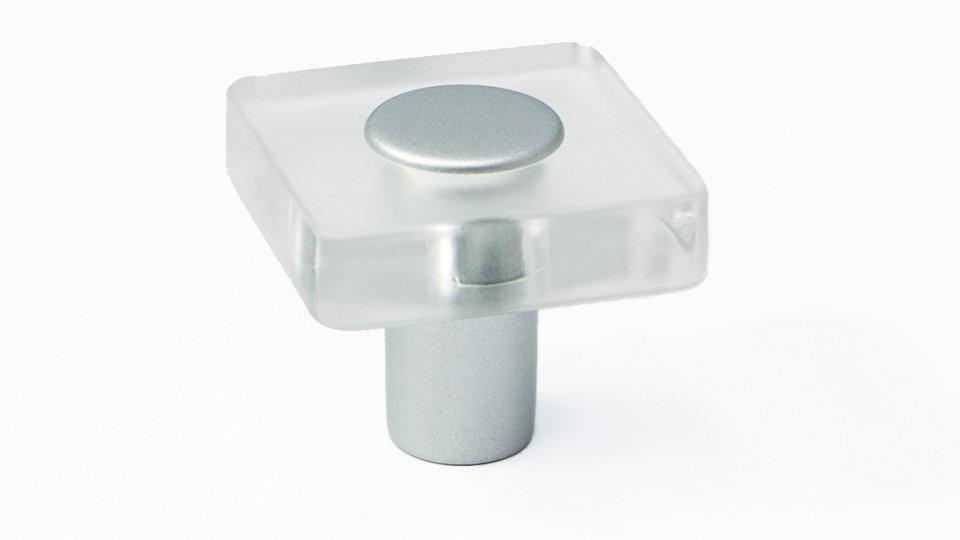 Möbelknopf Schotten, Kinder Kunststoff Glaseffekt - transparent klar, Kunststoff metallisiert - weißaluminium | 0030x26x30