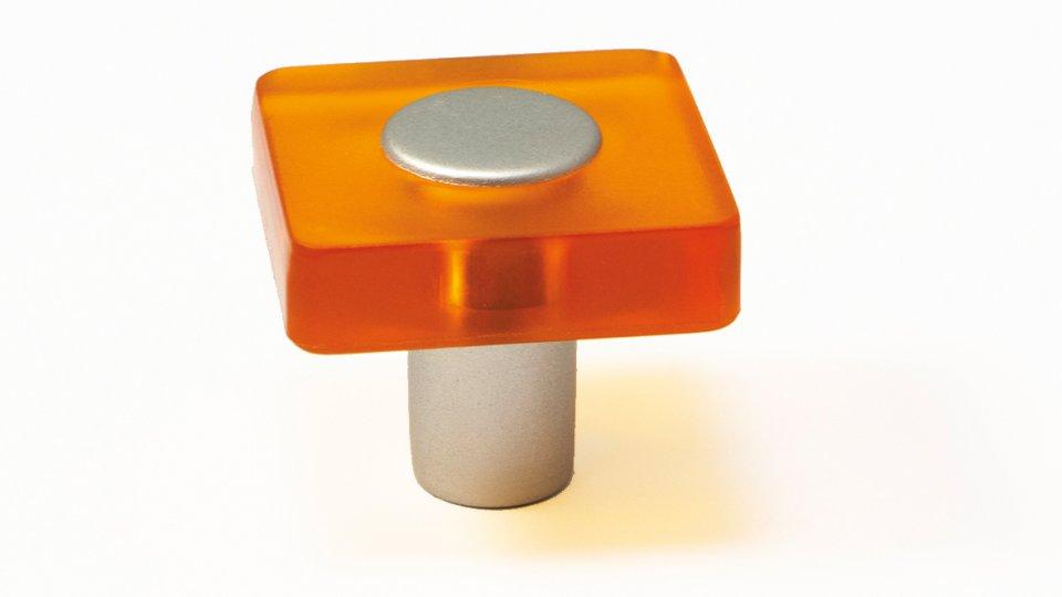 Möbelknopf Schotten, Kinder Kunststoff Glaseffekt - orange, Kunststoff metallisiert - weißaluminium   0030x26x30