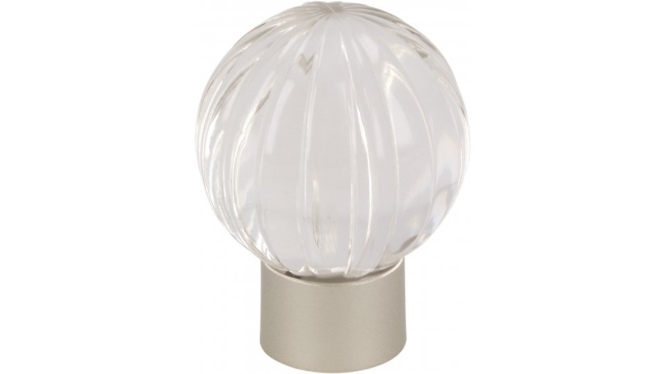 Möbelknopf Soest, Kugel Kunststoff Glaseffekt - Glasklar, Kunststoff metallisiert - Nickel | 29x29x37