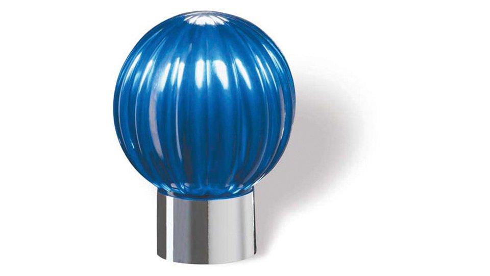 Möbelknopf Soest, Kugel Kunststoff glaseffekt blau metallisiert chrom glänzend | 0029x37x29