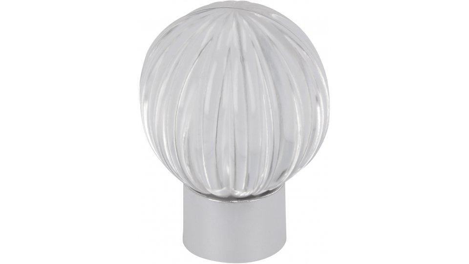 Möbelknopf Soest, Kugel Kunststoff glaseffekt glasklar metallisiert chrom glänzend | 0029x37x29