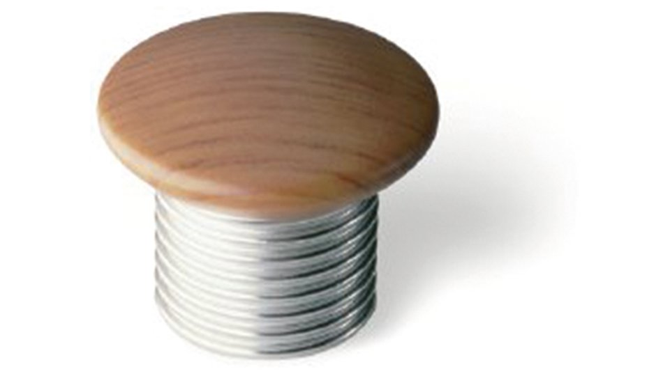 Möbelknopf Stolberg, Design Kunststoff Holzeffekt - Kirschfarbig, Kunststoff metallisiert - Nickel matt | 30x30x28