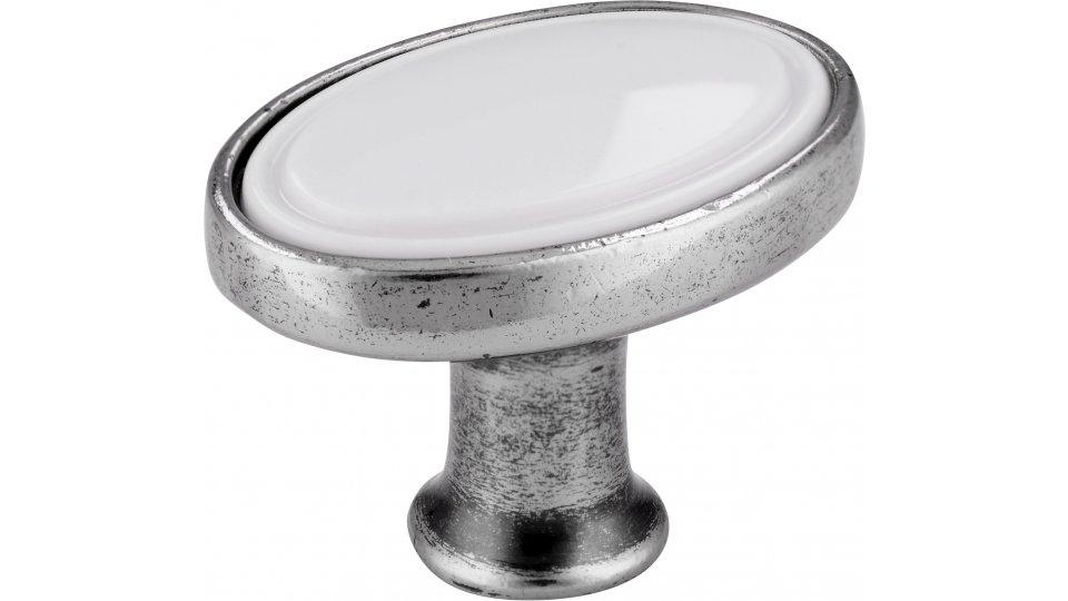 Möbelknopf Wadern, Klassisch,  Vintage Druckguss - Kunststoff altsilberfarbig weiß   0032x24x22