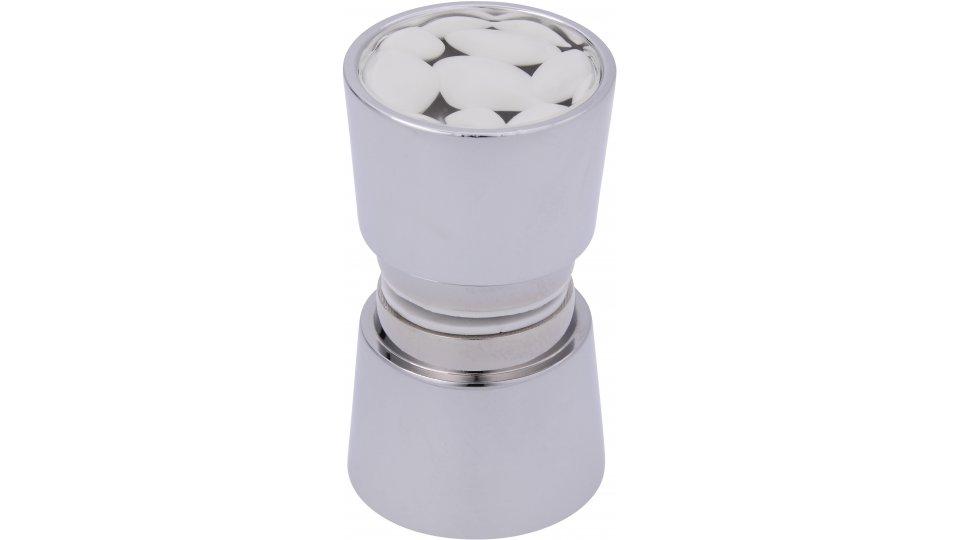 Möbelknopf Weener, Modern Zinkdruckguß - Chrom glänzend, Kunststoff Steineffekt - Weiß | 34x25x58