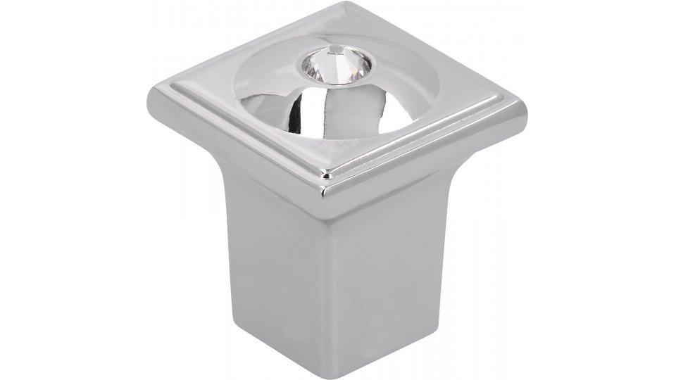 Möbelknopf Weilerswist, Modern Zinkdruckguß - Chrom glänzend, Swarovski® - Kristalle   20x20x23