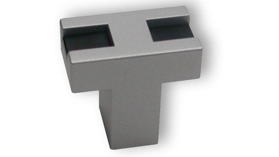 Möbelknopf + Einlage Fellbach, Design,  Modern Kunststoff metallisiert weißaluminium schwarz | 0026x24x10