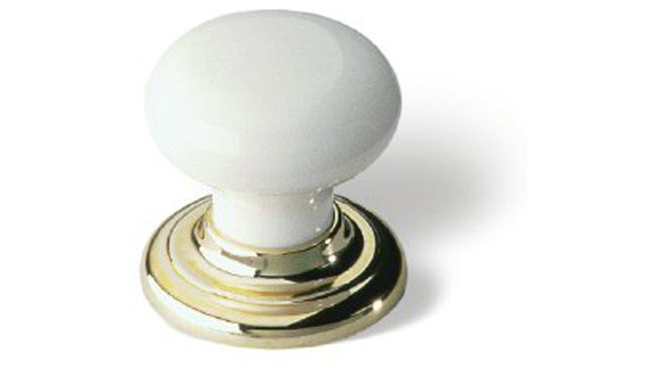 Möbelknopf + Unterlage Heidelberg, Kugel,  Klassisch,  Vintage Kunststoff glasiert weiß hochglanz metallisiert gold glänzend | 0032x32x32