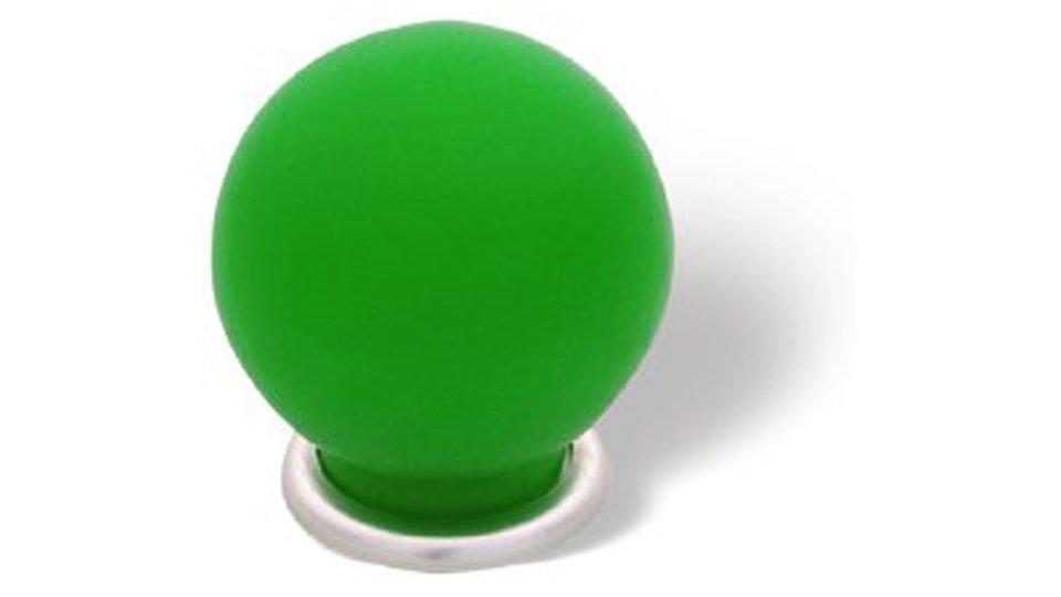 Möbelknopf + Unterlage Plauen, Schlicht,  Kugel Kunststoff Glaseffekt matt - Grün, Kunststoff metallisiert - Nickel matt | 34x34x35