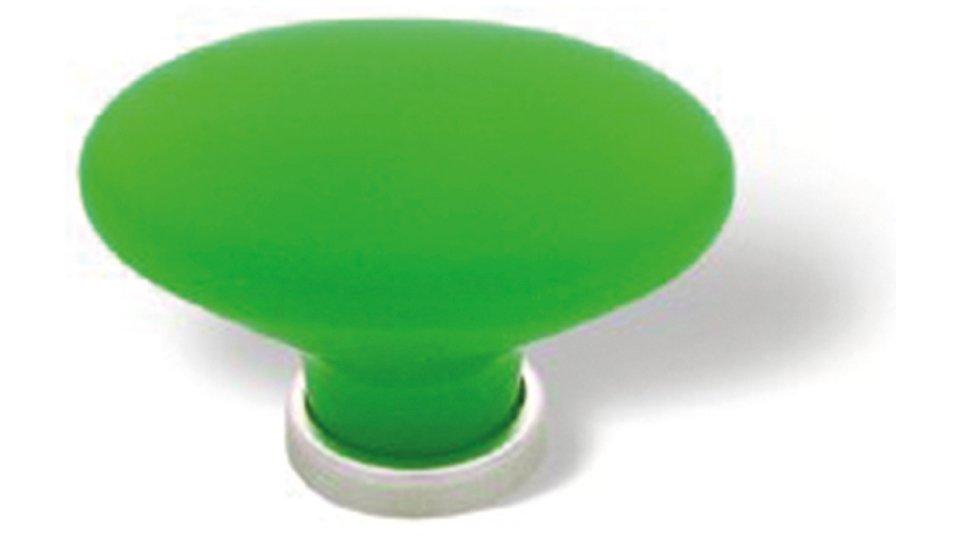 Möbelknopf + Unterlage Weimar, Schlicht,  Kugel Kunststoff Glaseffekt matt - Grün, Kunststoff metallisiert - Nickel matt | 44x31x28