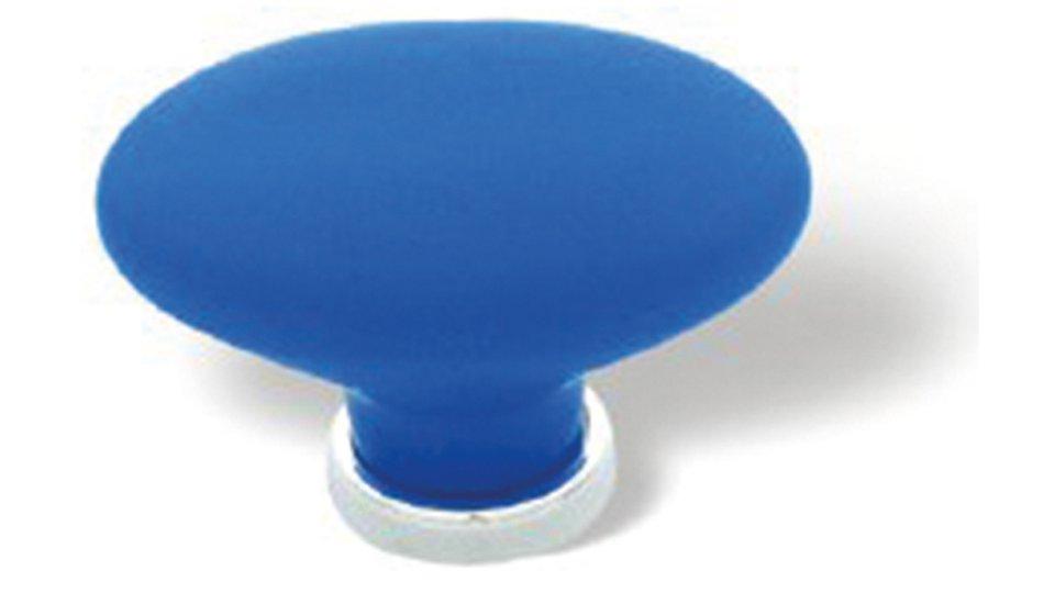 Möbelknopf + Unterlage Weimar, Schlicht,  Kugel Kunststoff Glaseffekt matt - Blau, Kunststoff metallisiert - Chrom glänzend | 0044x31x28