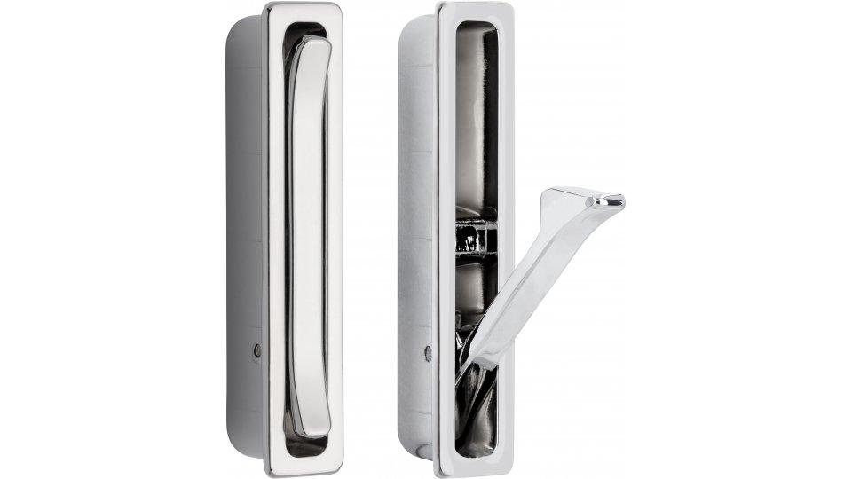 Muschelgriff Burbach, Modern,  Design Zinkdruckguß - Chrom glänzend | 66x13x17