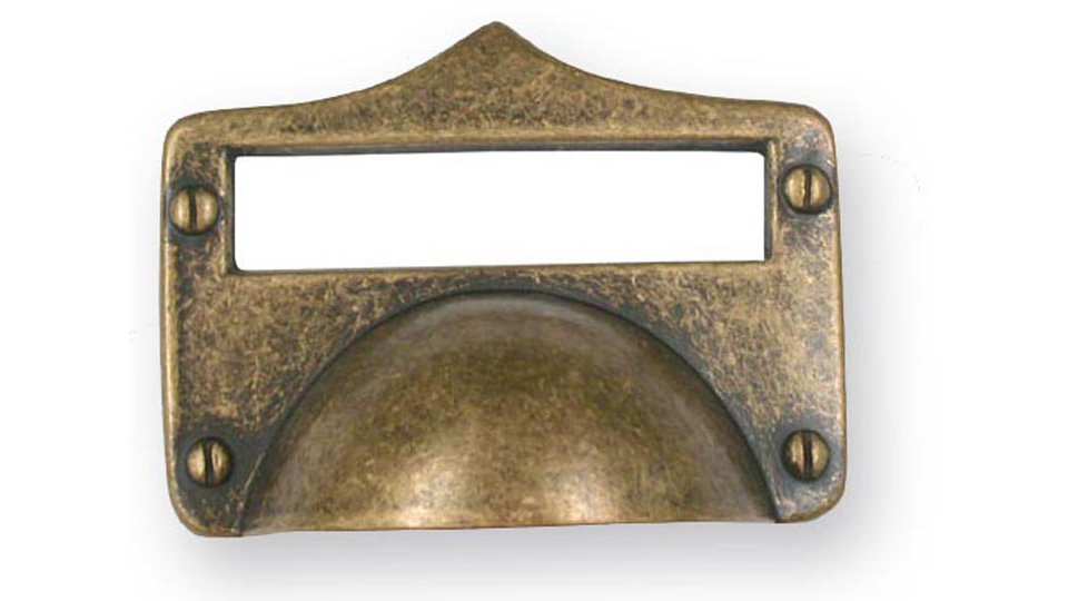 Muschelgriff Finsterwalde, Landhaus,  Vintage Zinkdruckguß - Altmessingfarbig brüniert getrommelt   83x62x25 LA:32