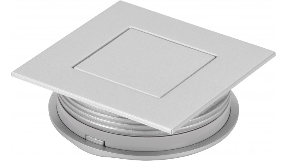 Muschelgriff Kehl, Modern Kunststoff metallisiert - Weißaluminium | 60x60x20 LA:48