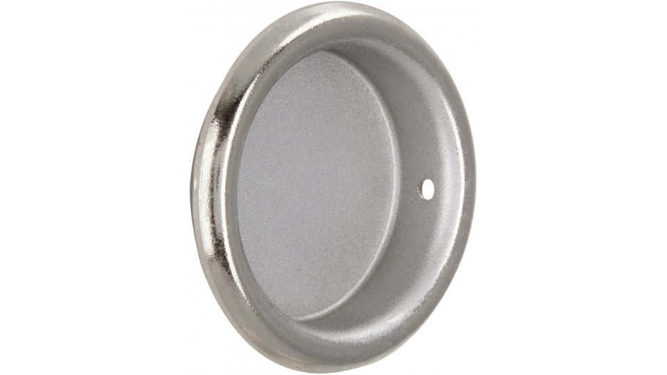 Muschelgriff Langen, Schlicht Zinkdruckguß pulverbeschichtet - Alufarbig, Zinkdruckguß - Nickel glänzend | 26x26x6