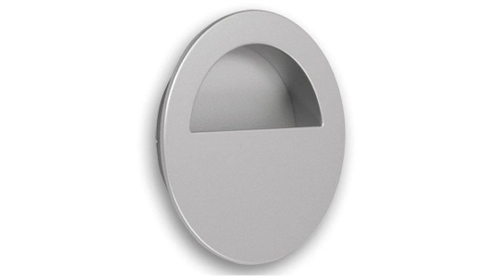 Muschelgriff Ratekau, Modern Zinkdruckguß pulverbeschichtet - Alufarbig | 90x70x16