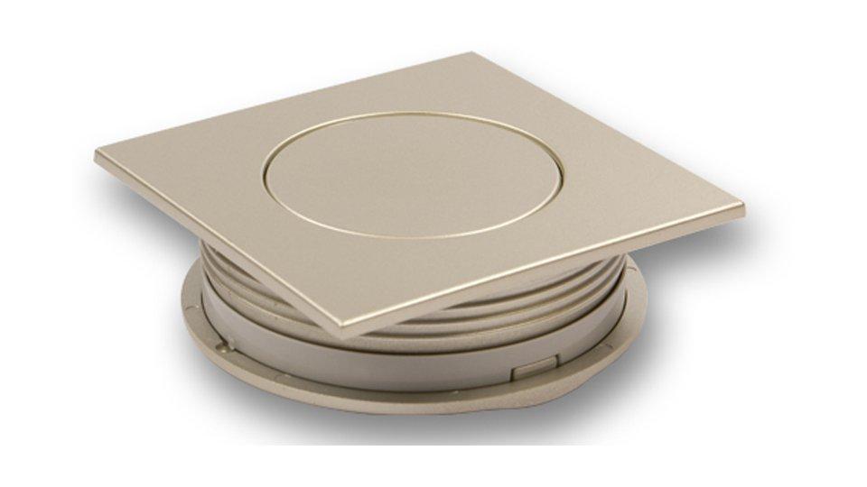 Muschelgriff Rheinfelden, Modern Kunststoff metallisiert - Nickel   60x60x20 LA:48