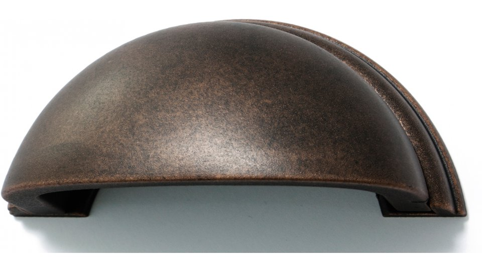 Muschelgriff Twist, Vintage Kunststoff - Grau-Kupfer | 95x40x35 LA:64