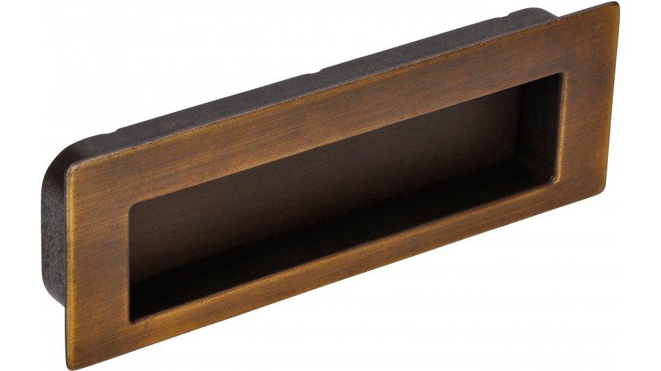 Muschelgriff Worpswede, Schlicht,  Vintage Zinkdruckguß - Messing schwarz gebürstet | 112x38x13 LA:96
