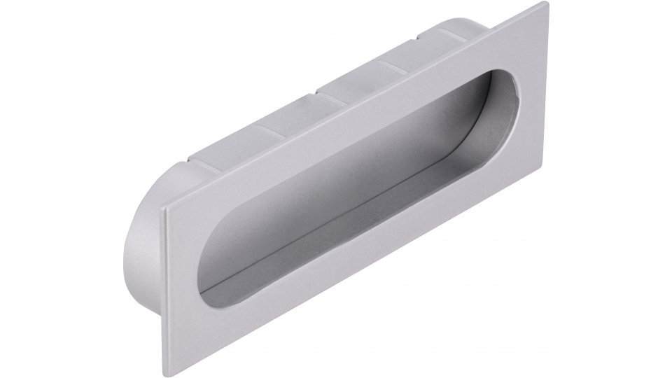 Muschelgriff Wurzen, Modern Druckguss - Stahl alufarbig pulverbeschichtet | 0125x16x45