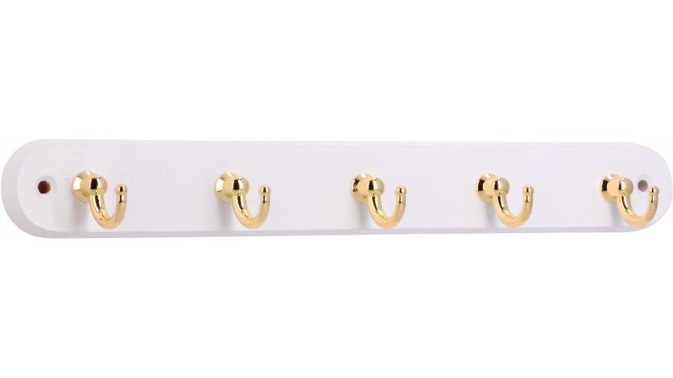 Schlüsselleiste Ibbenbüren, Klassisch, Vintage Holz - Buche weiß lackiert, Zinkdruckguß - Glänzend vermessingt | 300x36x38 LA:270