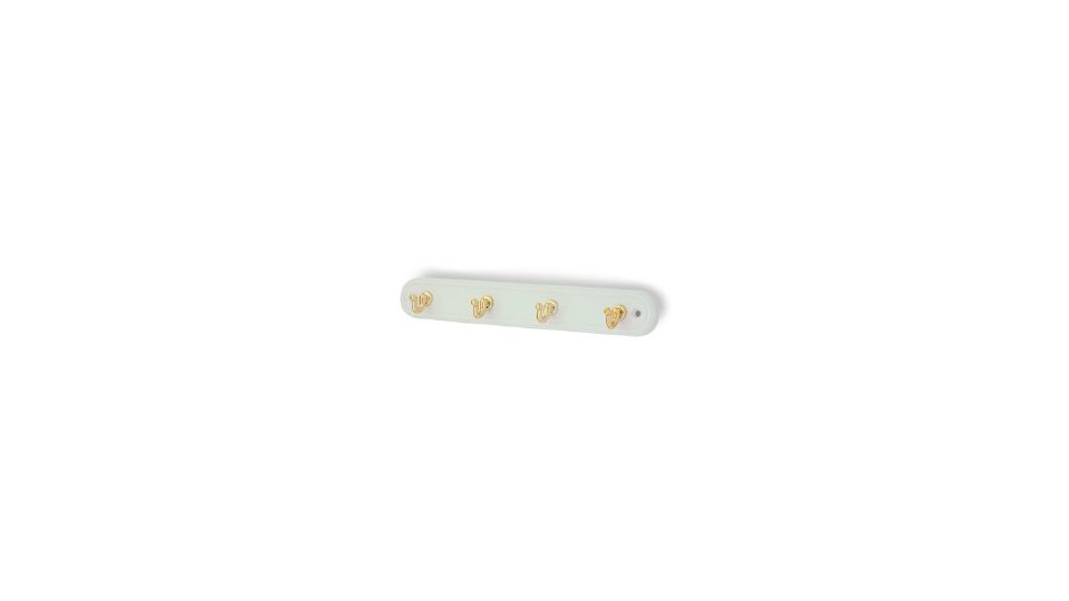 Schlüsselleiste Osnabrück, Schlicht Kunststoff - Weiß, Kunststoff metallisiert - Gold glänzend | 240x36x29 LA:208,5