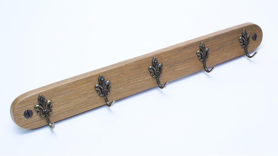 Schlüsselleiste Sindelfingen, Landhaus,  Klassisch,  Vintage Holz - Eiche gebeizt lackiert, Zinkdruckguß - Altmessingfarbig brüniert getrommelt | 300x36x26 LA:270