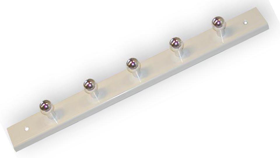 Schlüsselleiste Völklingen, Schlicht Kunststoff - Weiß, Kunststoff metallisiert - Chrom glänzend | 296x30x9 LA:256