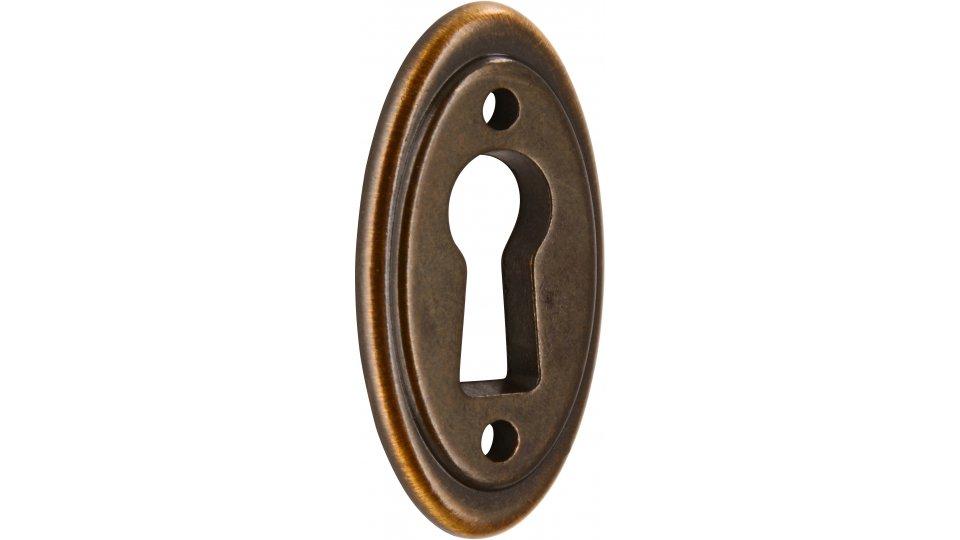 Schlüsselschild Hanau, Landhaus,  Klassisch,  Vintage Zinkdruckguß - Altmessingfarbig brüniert getrommelt | 37x19x3 LA:22