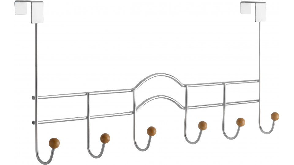 Türgarderobe Freudenberg, Schlicht Zinkdruckguß - Chrom glänzend, Holz - Ahorn natur lackiert | 490x223x78