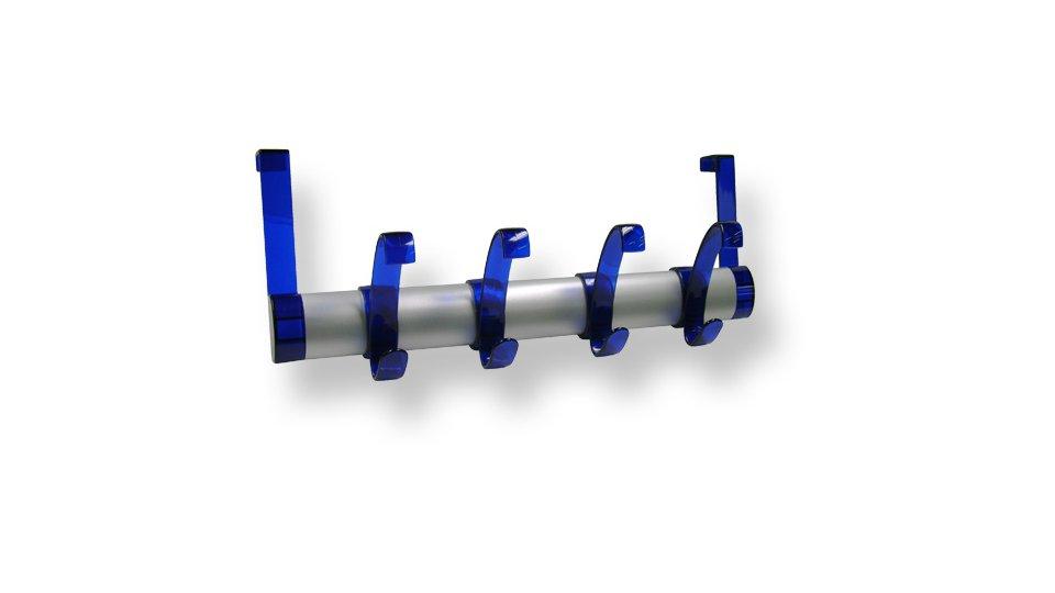 Türgarderobe Merseburg, Modern Kunststoff Metallfolieneffekt - Weißaluminium, Kunststoff Glaseffekt - Blau   396x160x98