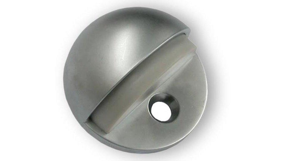 Türstopper Geretsried, Schlicht Zinkdruckguß - Chrom matt, Kunststoff - Steingrau | 44x44x26